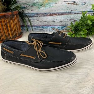 Aldo Black Leather Dockside Boat Shoes Sz 13